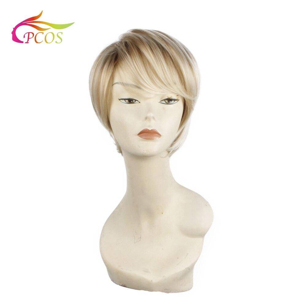 Pelucas rubias sintéticas rectas cortas y rectas para mujeres negras, pelo Fleeciness, pelucas rubias naturales realistas