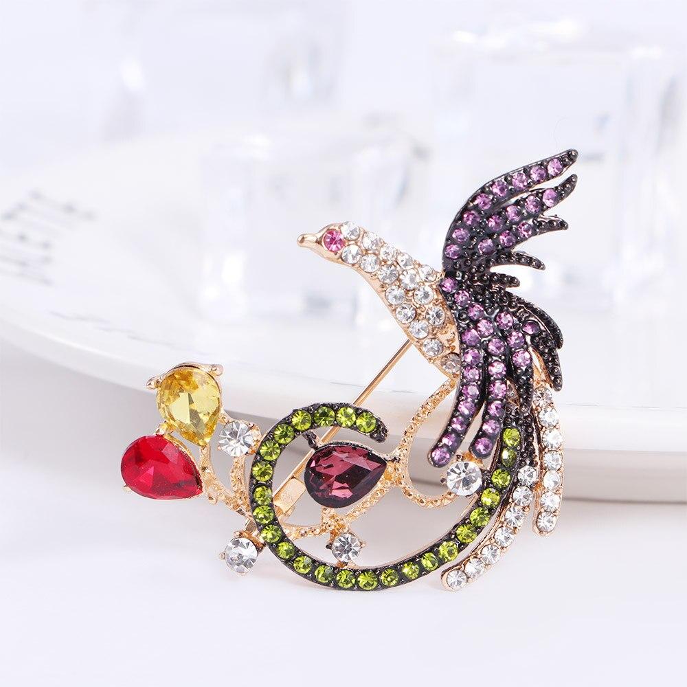 Bolso de bufanda de moda Fénix multicolor con diamantes de imitación para decoración de alfiler de broche de joyería