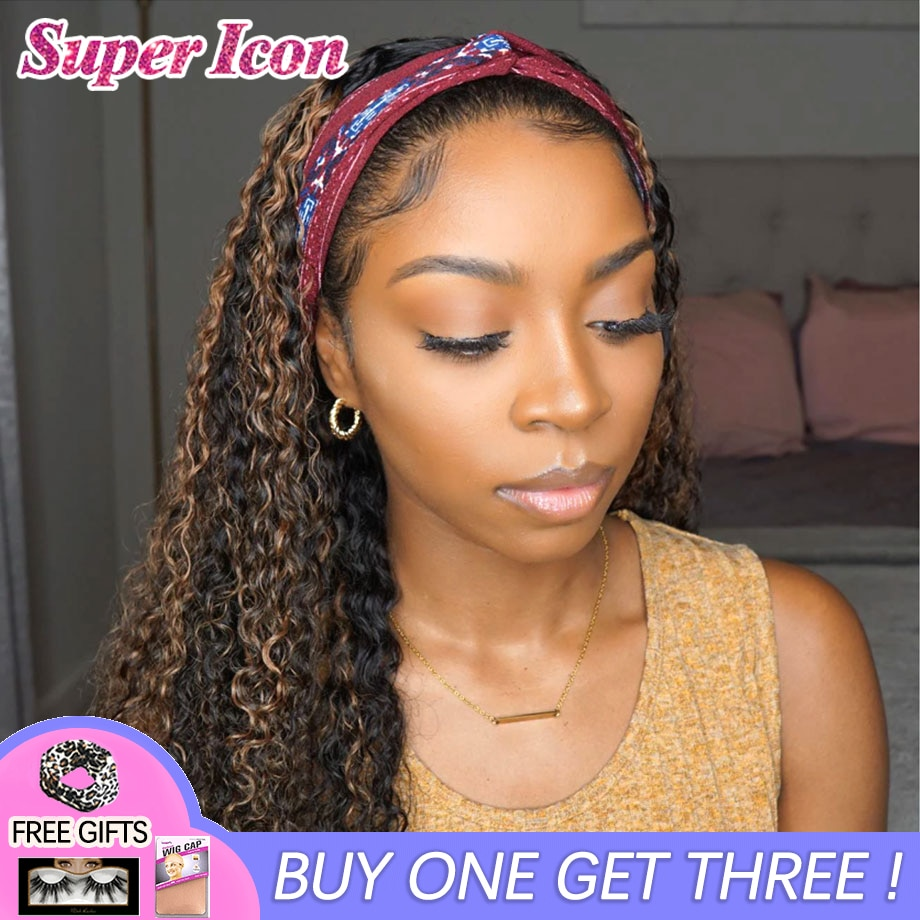 Cheap Curly Ombre Highlight Human Hair Wigs Peruvian Remy Glueless Scarf 4-27 Colored Headband Wigs For Black Women Super Icon