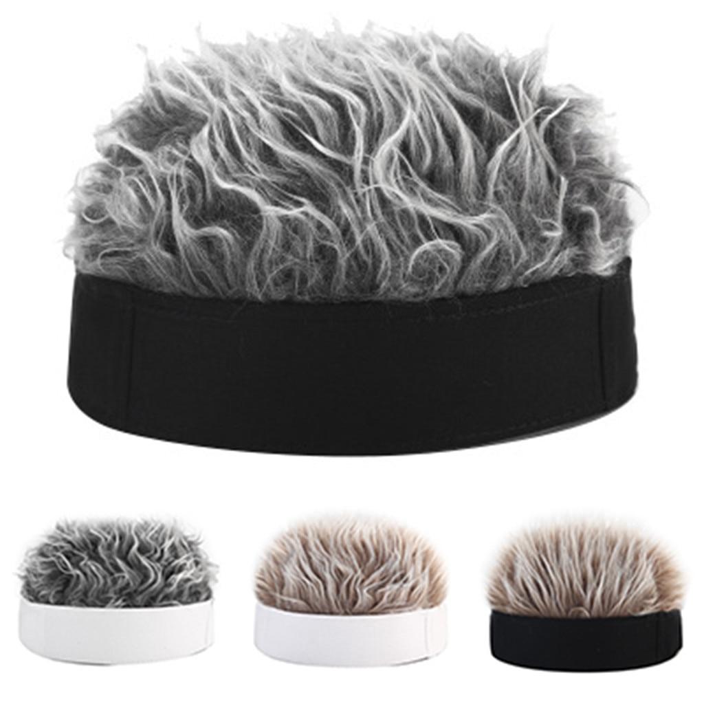 Peluca de pelo falso gorra de Sol para hombres y mujeres divertida gorra de Hip Hop corto melón gorra de Skullcap holgada Retro pescador de esquí