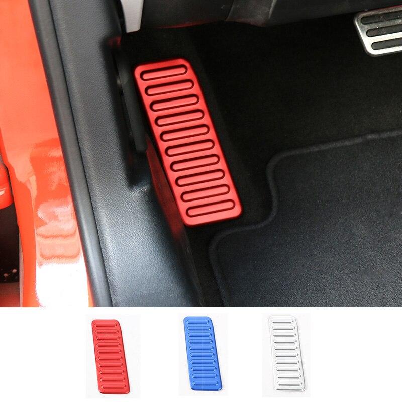 Mopai alumínio interior do carro pé esquerdo resto pedal decoração quadro adesivos para ford mustang 2015 up estilo do carro