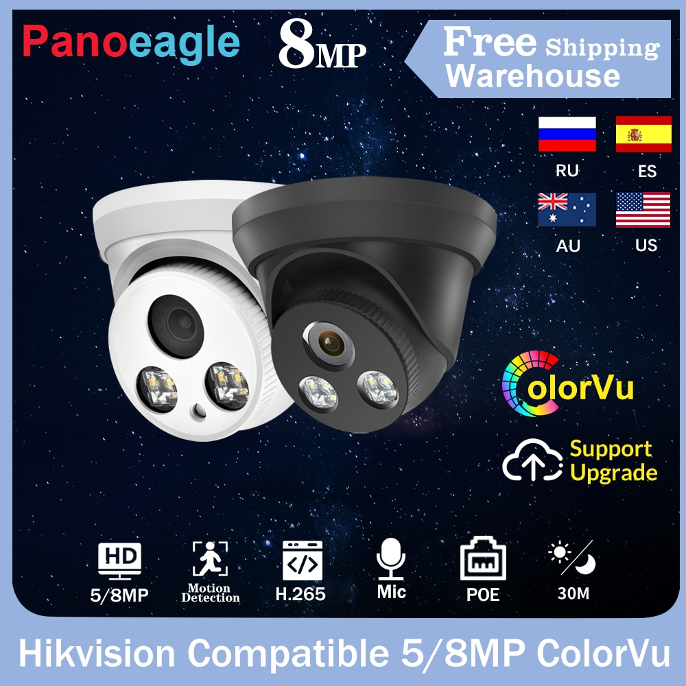 Hikvision-كاميرا مراقبة قبة IP POE hd 5MP/8MP (NVR) ، جهاز أمان منزلي صغير ، مع ميكروفون مدمج ، متوافق مع Onvif