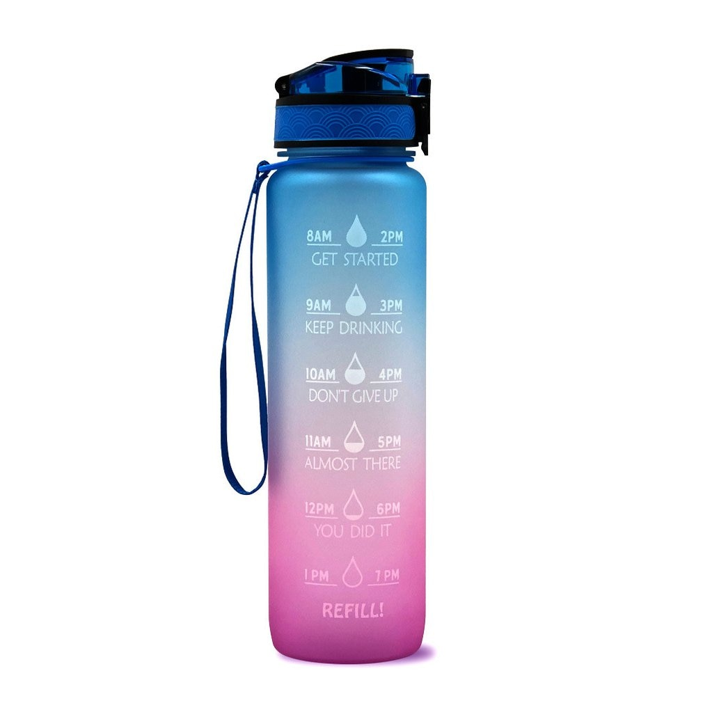 1L Plastic Water Bottle Frosted Gradient Bouncing Cup Sports Space Cup Sports Fitness Outdoor Bottle