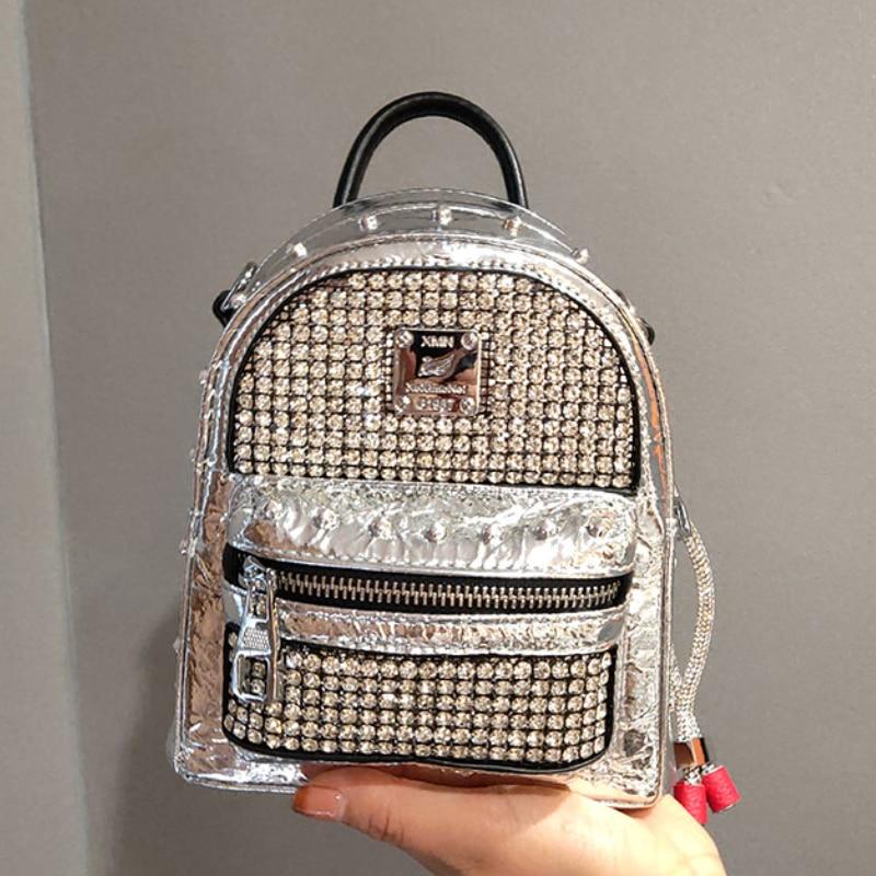 Brand Diamond Women's Backpack Fashion Rhinestone Rucksack Diamond Leather Backpack Dual-use Shoulder Bag Casual Bagpack