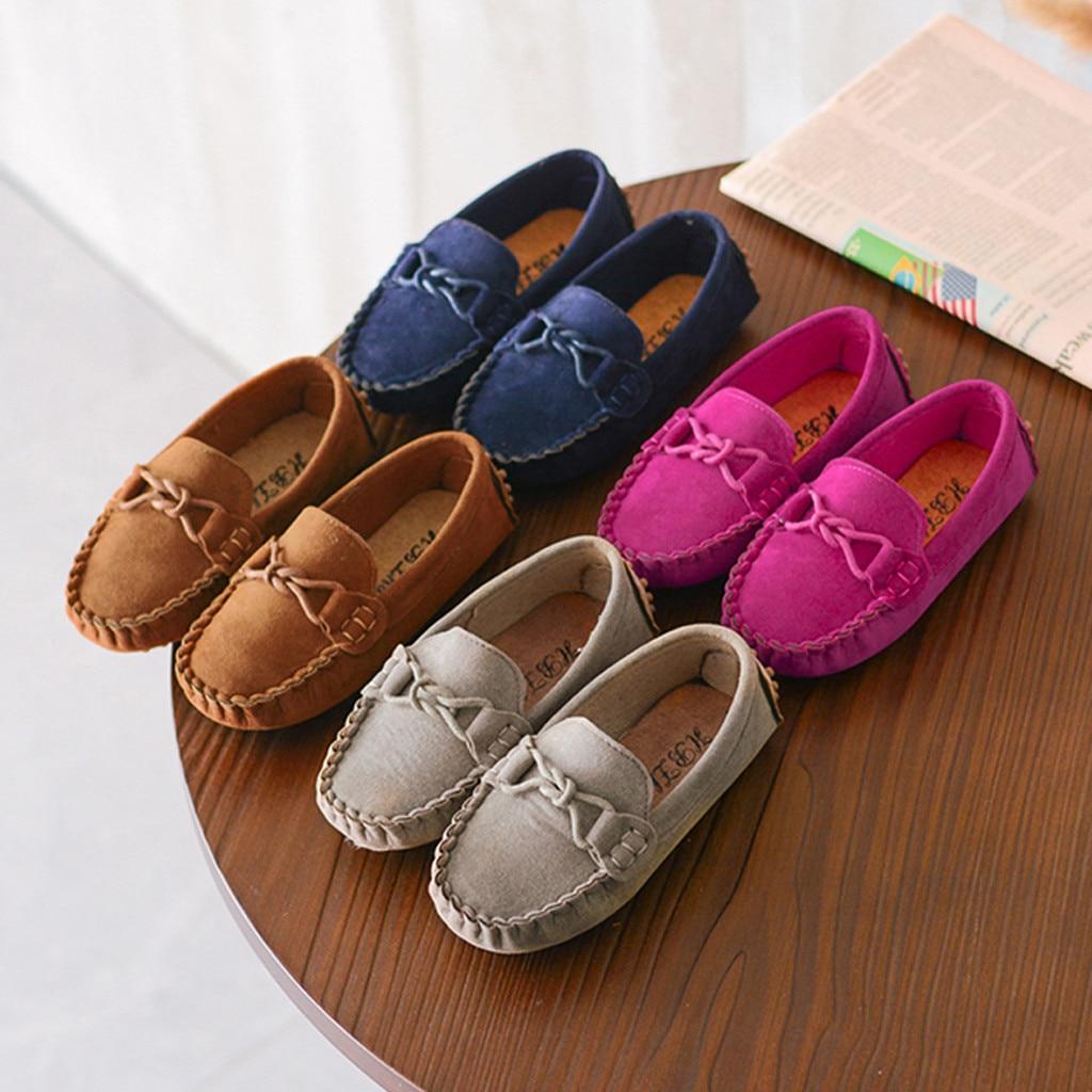 Rebanho vaca músculo outsole sapatos de bebê crianças meninos meninas mocassins cor sólida bowknot fundo macio deslizamento-on respirável sapatos casuais