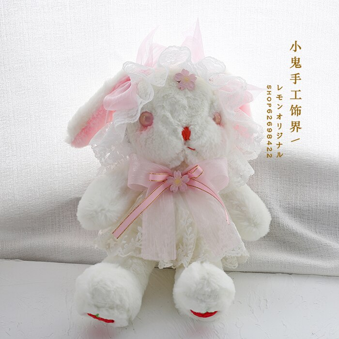 Lolita Japanese Handmade Sweet Rabbit Inclined Shoulder Bag Cute Doll bag Soft Sister Kawaii Handbags Cherry Rabbit bag Cosplay
