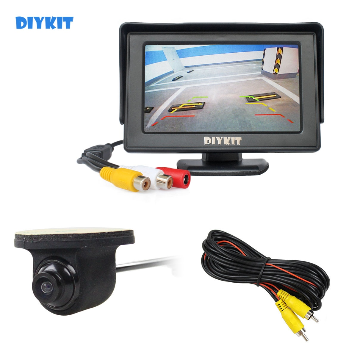 DIYKIT Wlred 4.3 Inch TFT LCD Car Monitor + Waterproof Rear View Car Camera for Rear / Front / Side View