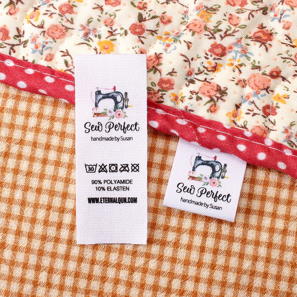 Custom Sewing Labels,  Care label, Organic Cotton Ribbon Labels,  Personalized Brand , Logo or Text(MD3269)