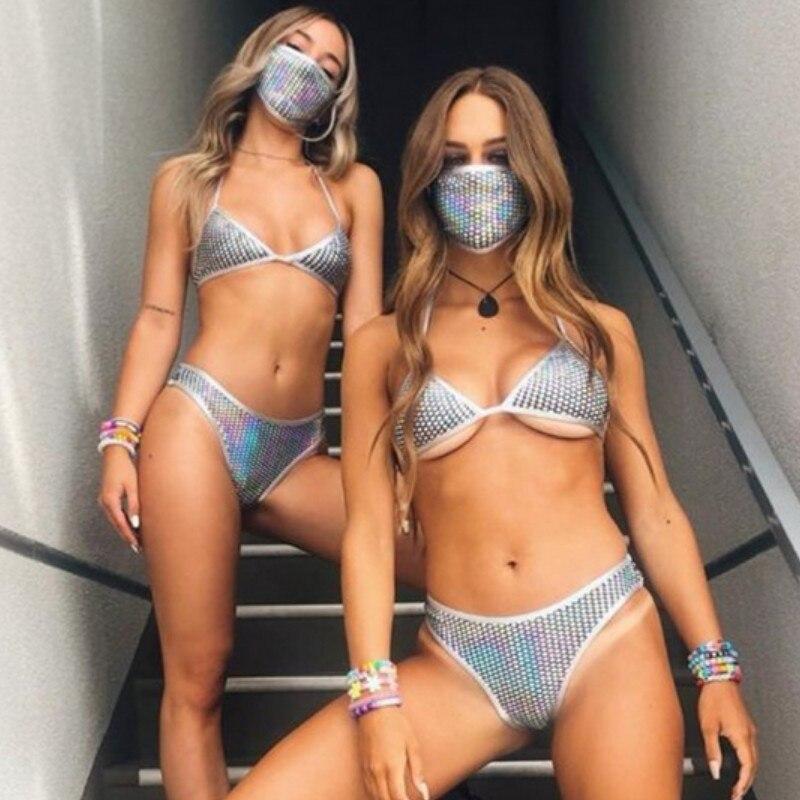 Sexy Bikini 2020 traje de baño para mujer verano Halter encaje hasta Skinny Sujetador con relleno con aumento Micro Tanga Bikini 3 piezas conjunto de playa
