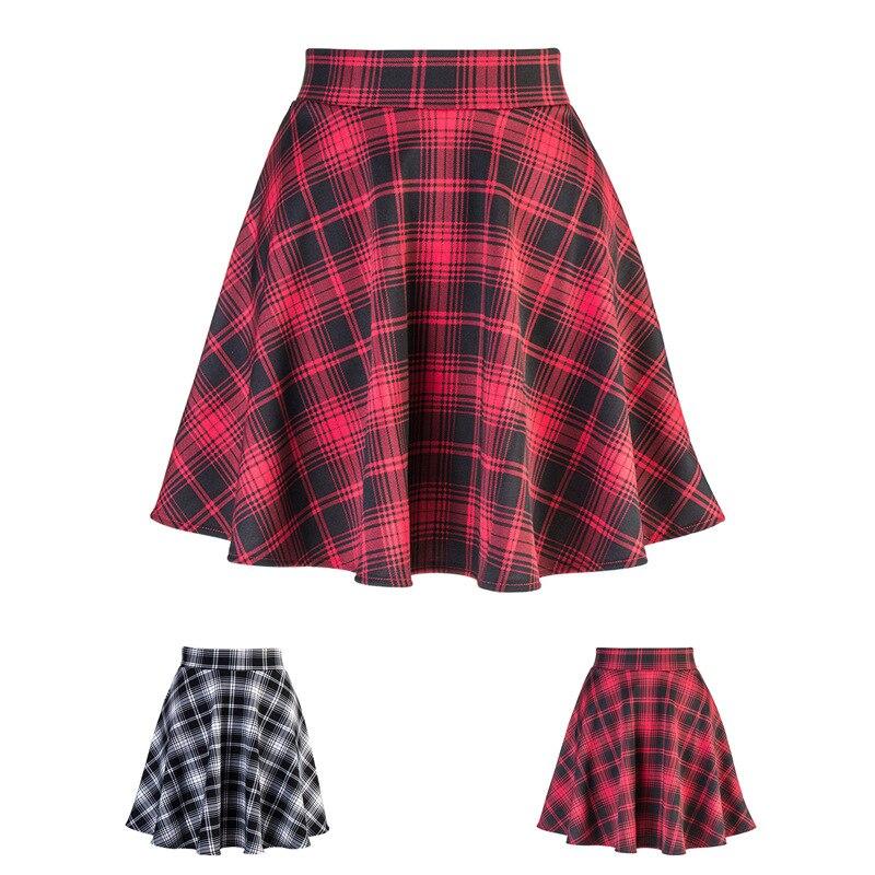 2020 nova Mid-Comprimento Da Saia das Mulheres Xadrez UMA linha-All-jogo de Cintura Alta Sopro Saia Cheia saia Grande Tamanho Da Cintura Elástica streetwear