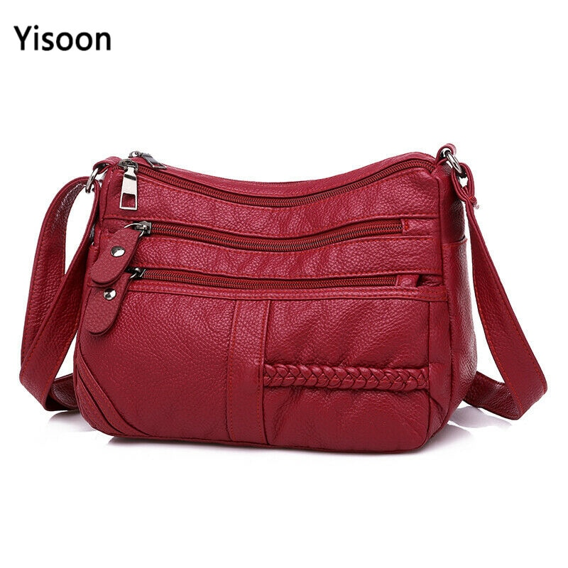 High Quality Women's Soft Leather Shoulder Bags Multi-Layer Shopper Bag Classic Crossbody Luxury Designer Handbag and Purse