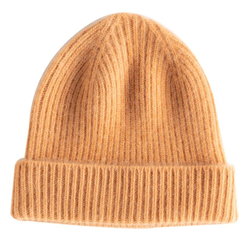وصل حديثًا قبعات نسائية مناسبة للخريف والشتاء 100% من الكشمير الماعز محبوك قبعات رأس ناعمة سميكة ودافئة قبعة للفتيات ذات 6 ألوان عالية الجودة