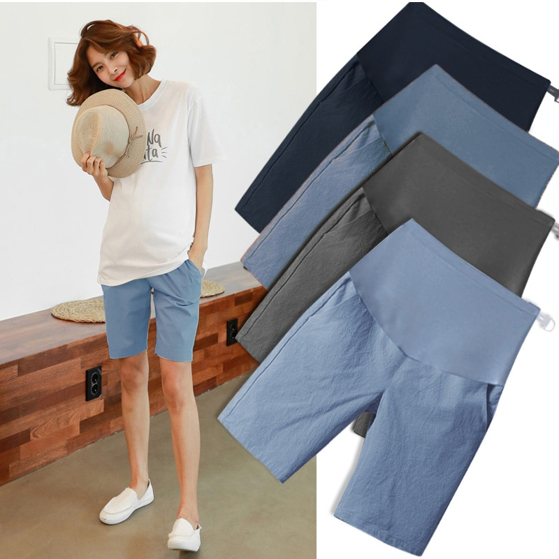 Cotton Linen Maternity Short Pants Summer Fashion Shorts Clothes for Pregnant Women Casual Belly Pregnancy