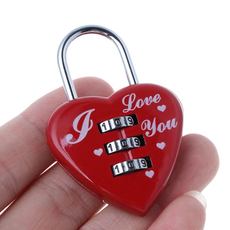 Candado para maleta con corazón rojo bonito de 3 dígitos con bloqueo codificado 40JE