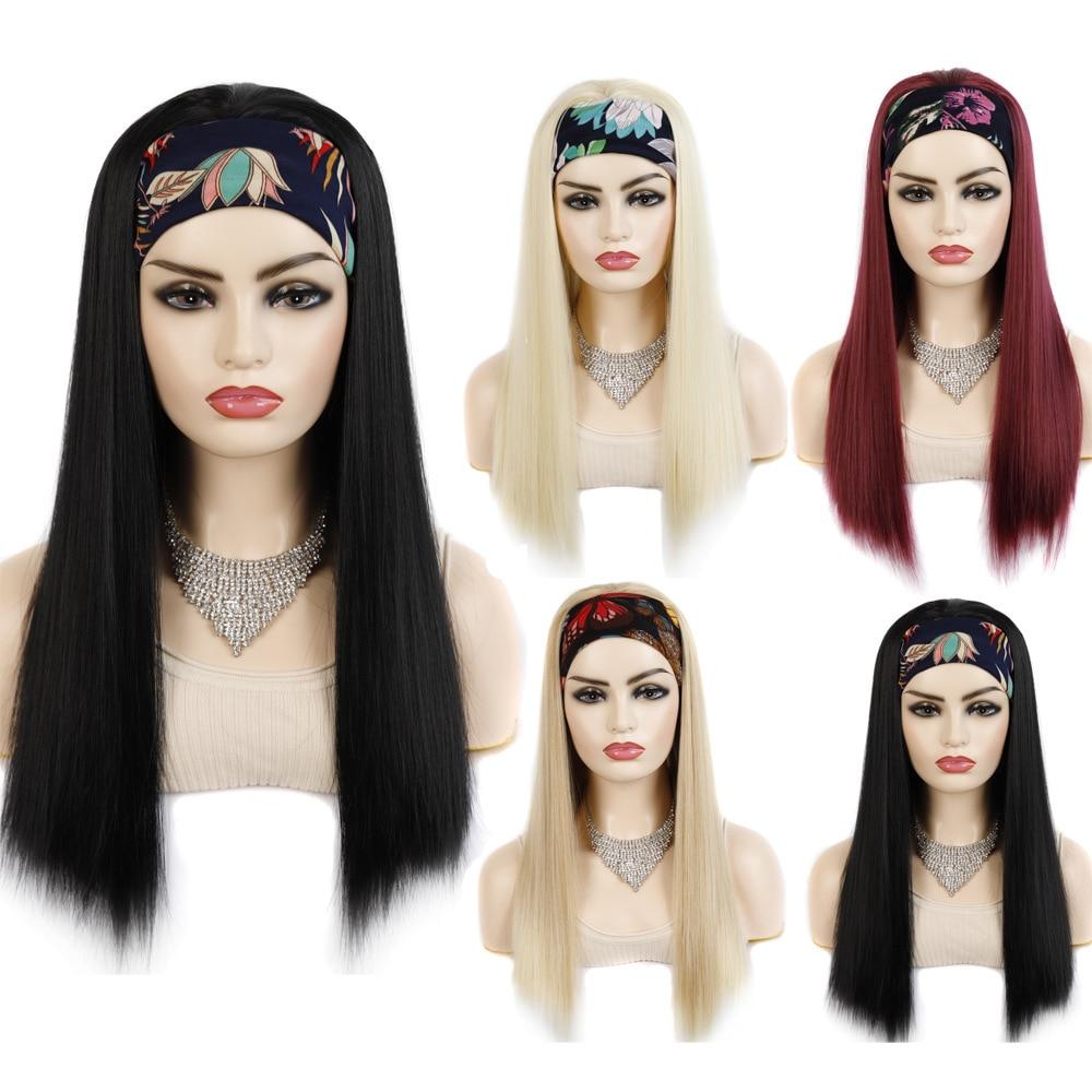 "22"" Long Afro Kinky Straight Headband Wigs For Women Synthetic High Temperature Fiber Yaki Straight Hair Wig With Headband"