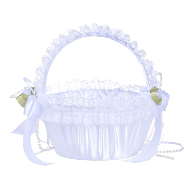 Elegante laço flor menina cesta pétalas bouquets titular para cerimônia de casamento festa decoração flor cesta melhor homem dama de honra