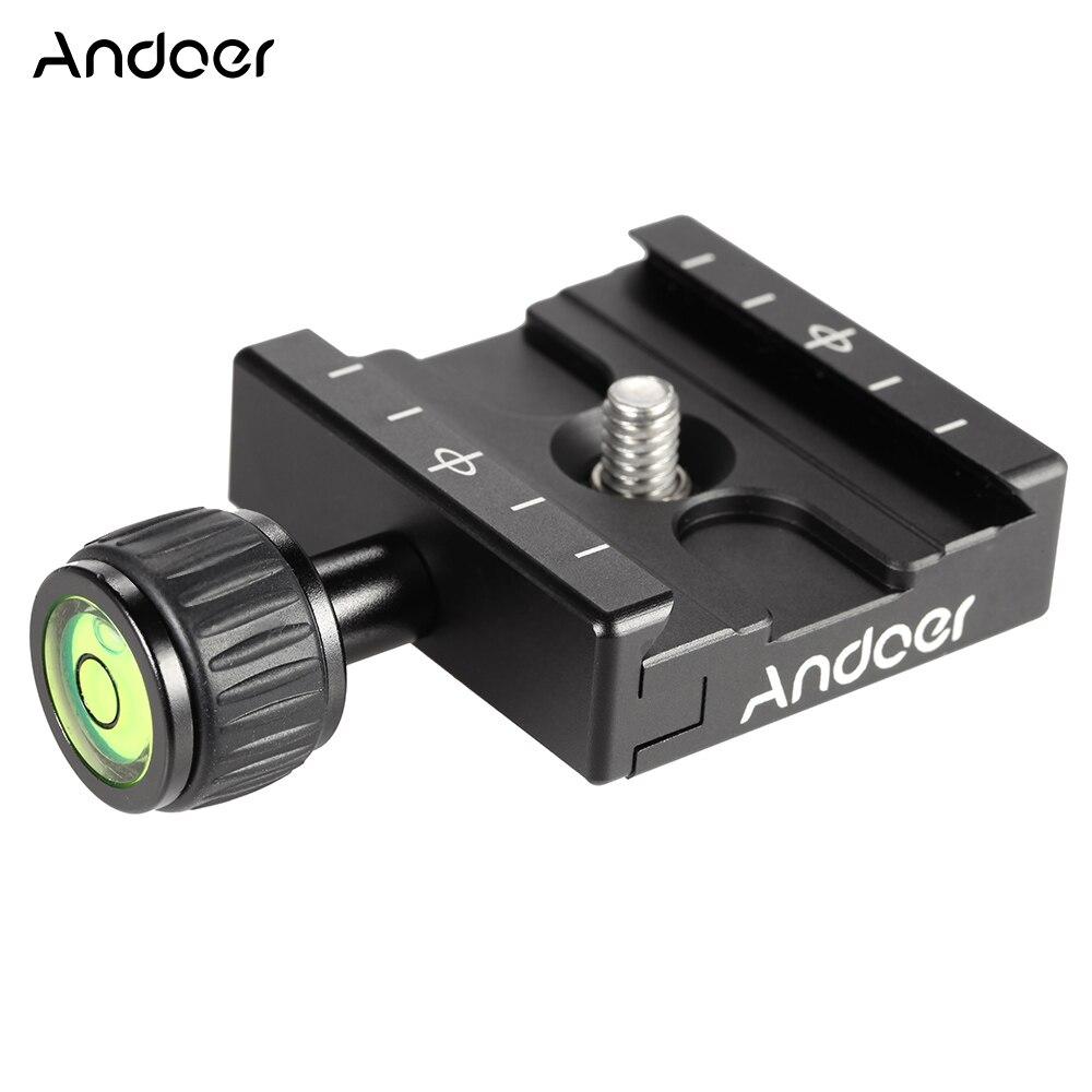 Adaptador de abrazadera de placa de liberación rápida Andoer QR-50 con nivel de burbuja incorporado para cabeza de bola de trípode Arca Swiss RRS wisberley