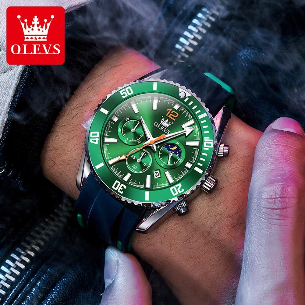 OLEVS Luxury Brand Sport Men Watches Waterproof Chronograph Luminous Man Sports Watch Silicone Quart