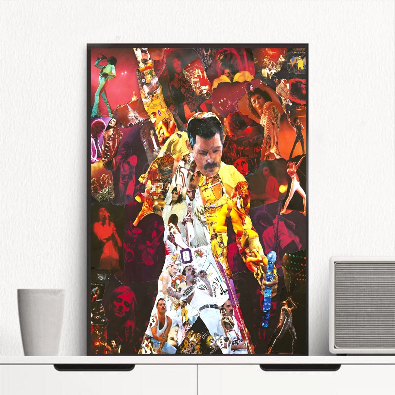 Freddies Mercuries 女王バンドコラージュキャンバス絵画リビングルームの家の装飾現代壁の芸術のポスターアートワーク