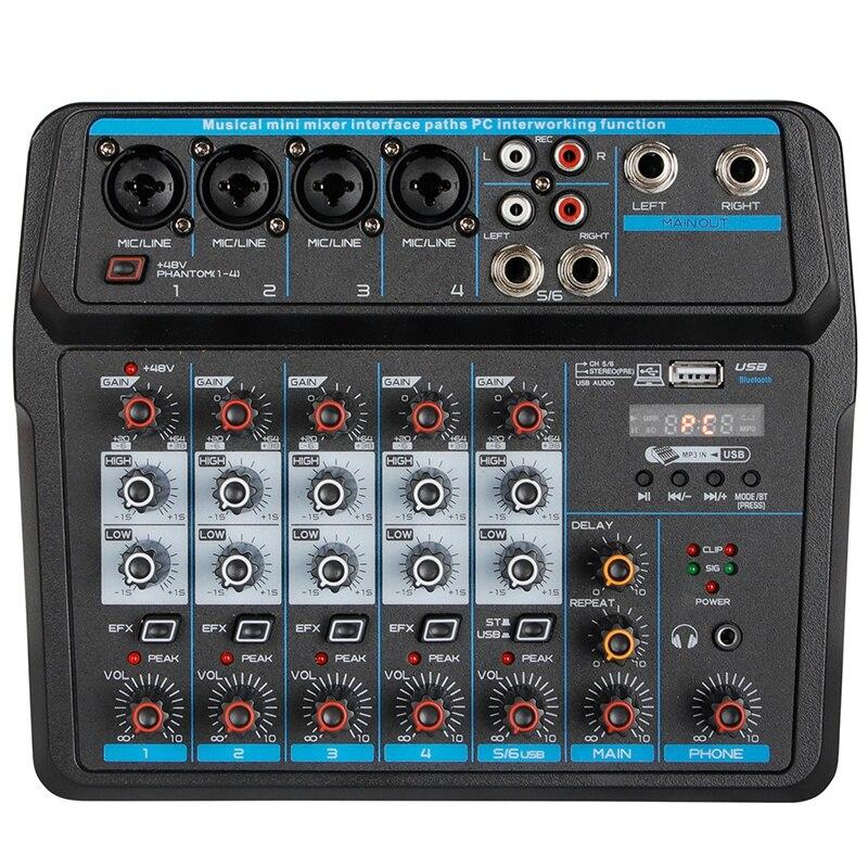 M-6 المحمولة البسيطة خلاط الصوت DJ وحدة مع بطاقة الصوت ، USB ، 48V السلطة الوهمية ل PC تسجيل الغناء البث الشبكي حزب (الولايات المتحدة التوصيل)
