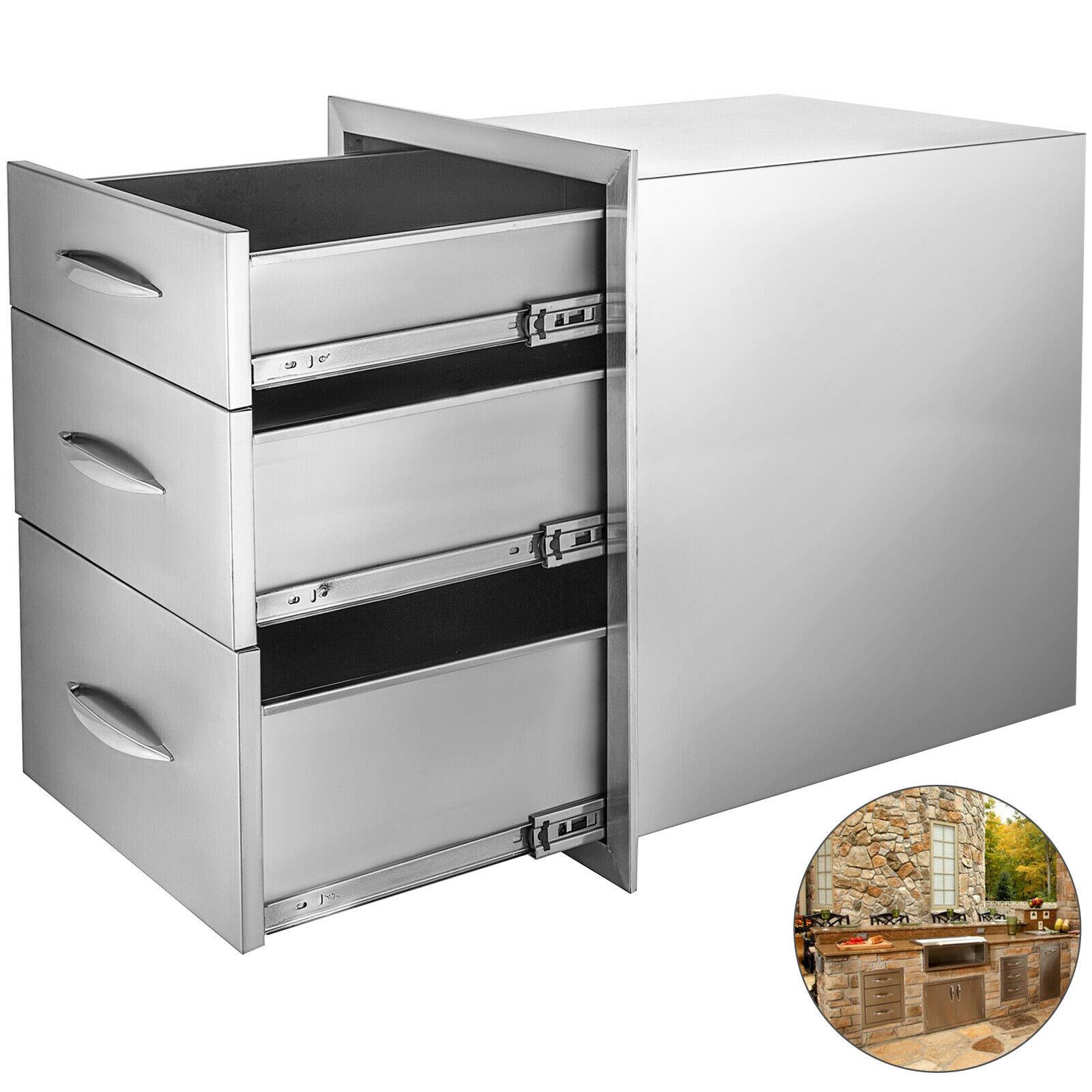 Cajón de cocina para exteriores de 14x20,25 pulgadas de acero inoxidable de Triple acceso con mango cromado, 14x20,25x23,2 pulgadas