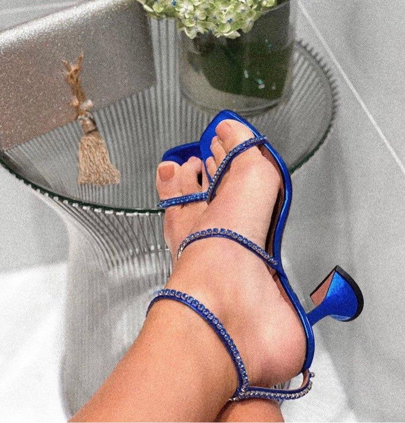 Marca de luxo sapatos femininos claro diamante stiletto saltos peep toe salto alto sandálias verão vestido festa sandálias cinta transversal