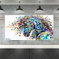 Decoration murale abstraite avec cheval  decoration de ferme  toile imprimee danimaux  images murales pour salon  affiche de decoration de maison