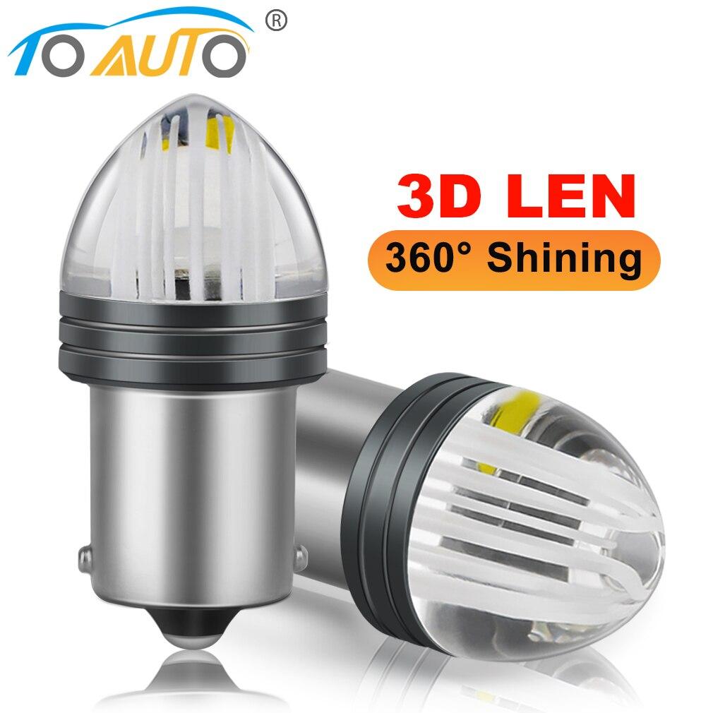 Светодиодная лампа P21W 1156 BA15S 2 шт., лампа для автомобиля BAY15D с 3D линзами, P21/ 5 Вт, 1157, яркость R5W, R10W, 12 В, лм