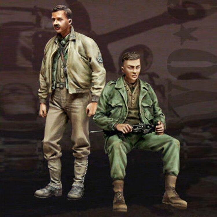 (2 teile/los) 1/35 harz modell kit Weltkrieg II UNS Tank Soldat zwei soldaten Unlackiert