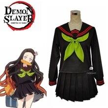 Anime démon tueur Kimetsu no Yaiba Cosplay Costume Kamado Nezuko Makomo JK uniformes scolaires marin Costume femmes tenue sur mesure