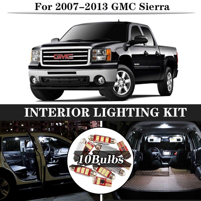10x Canbus blanco LED bombillas Interior Kit para 2007-2013 GMC Sierra mapa guantera maletero carga licencia lámpara 12V coche luz agria