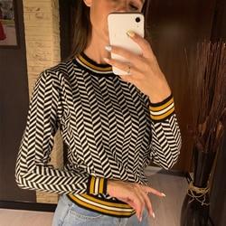 Gigogou geométrica malha pulôver feminino e suéteres outono inverno grosso fêmea jumper quente listrado blusas de natal puxar