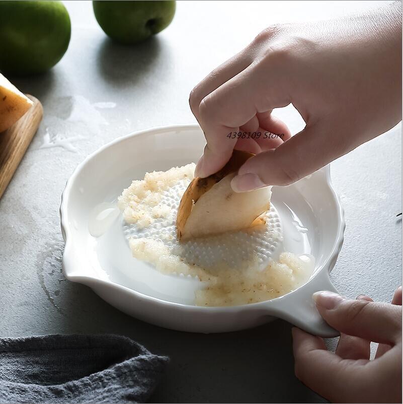 Molinillo de jengibre de cerámica herramienta de suplemento de alimentos para bebés Placa de molienda de frutas y verduras picadora de ajo herramientas de cocina para el hogar