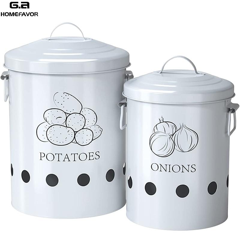 2 أو 3 قطعة صندوق تخزين المطبخ الحاويات البطاطس البصل بن منظمة دلاء المعادن الخضار زجاجة جرة عناصر المطبخ