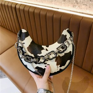 LIKETHIS Famous Brand Half Moon bags Cow Print Women's Shoulder Handbag Fashion Patchwork Pu Leather Female Crossbody Bag Bolsa