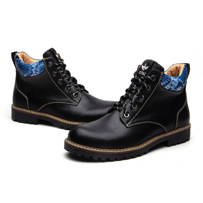 Meijiana botas de vestido masculino chukka tornozelo casual boot negócios rendas até oxfords botas masculinas de couro preto