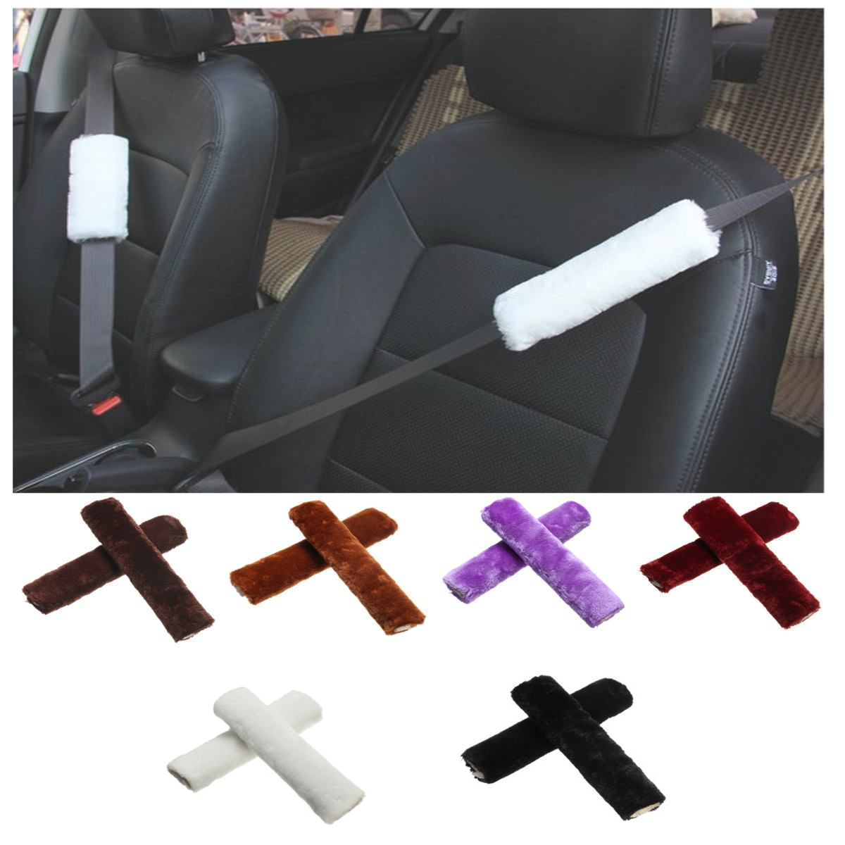 Pair Car Seat Belt Cover Shoulder Pad Shoulder Strap Case Comfortable Auto Driving Seatbelt Pad Cover