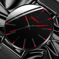 Luxury Fashion Mens Watches Minimalist Ultra Thin Black Stainless Steel Mesh Band Watch Men Business Casual Analog Quartz Clock