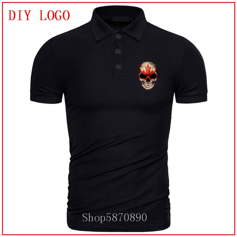 Diseño novedoso polo con calavera de la bandera de arce canadiense, camiseta Hipster de algodón para hombre, camiseta de patriotismo de Canadá, camisetas de verano de nueva tendencia