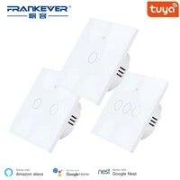 FrankEver Smart Wifi Switch ue royaume-uni 1 2 3 Gang intelligent mur tactile interrupteur fonctionne avec Alexa Google Home IFTTT Tuya Smart Life