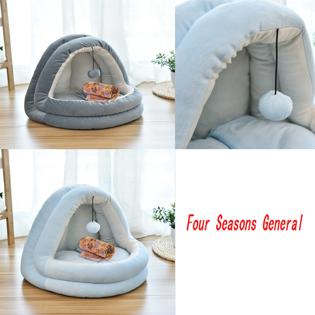 Otoño e Invierno para mascotas cama de perro cómoda para perros Perrera de moda suministros para mascotas Casa de gato con pelota de juguete Universal Cama de Gato #3132