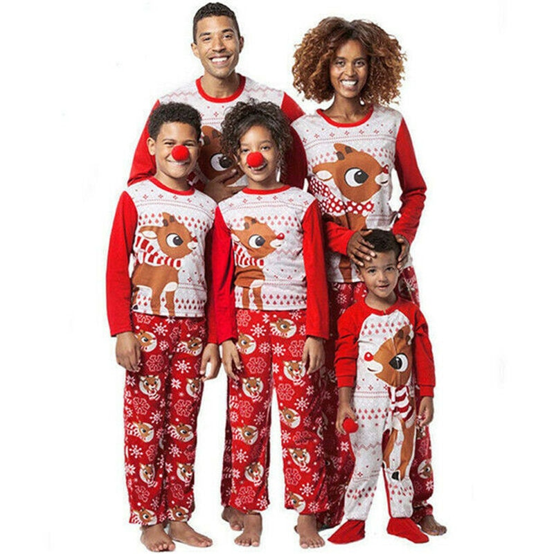Família combinando roupas de natal cervos prints natal pijamas conjunto unissex pais-crianças bebê santa pijamas 2019