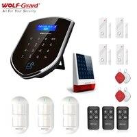 Wolf-Guard GSM Wifi sans fil systeme dalarme de securite a domicile Kit de bricolage APP telecommande detecteur de mouvement capteur solaire alimente sirene