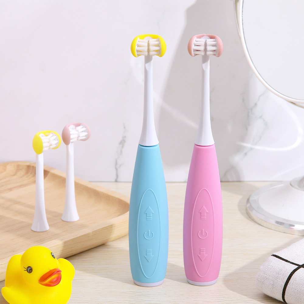 3D Side Sonic Electric Toothbrush Children USB Rechargeable Replacement Smart Ultrasonic Brush Heads 5 Mode Waterproof Timer