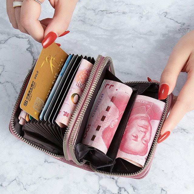 2021 Korean Trend Leather card holder Large Capacity Short card wallet 7Colors Zipper card case Multifunction Coin wallet women