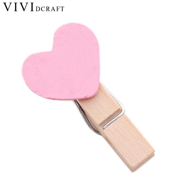 Cute Mini Heart Love Shape Wooden Decorative Photo Office Clip Pink CWJ9743 Clip Postcard Supplies Store Craft Wooden Paper W2Q5