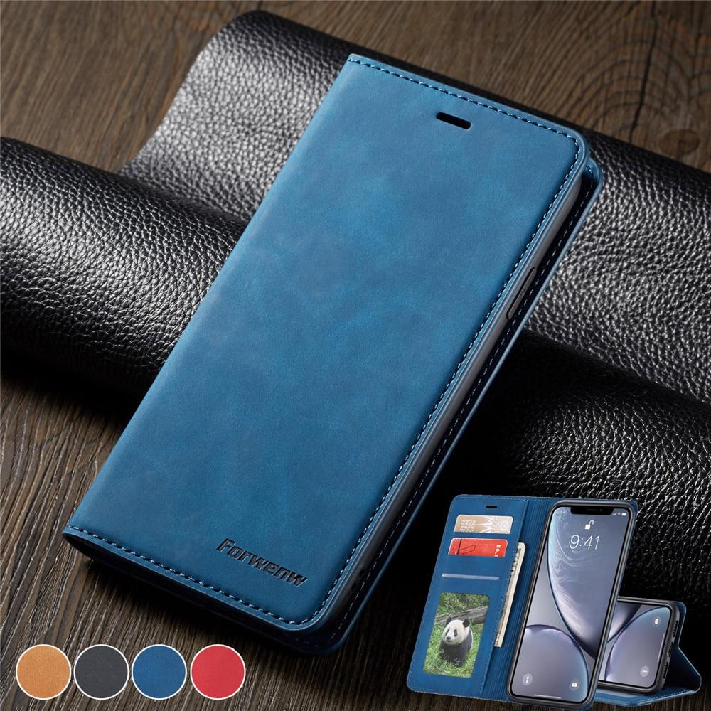 Магнитный кожаный чехол для iPhone 11 Pro MAX XS XR X 8 7 6 6S Plus 5 5S SE Чехол-бумажник для Samsung S20 S10E S10 S9 S8 Plus A50 A70