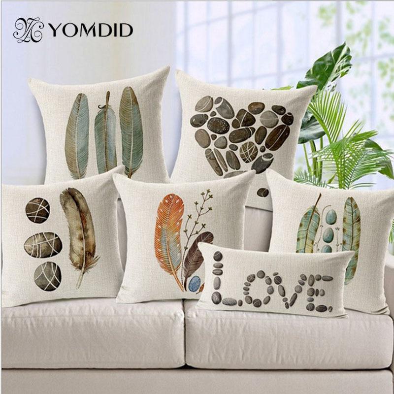 Cojín de hoja/cojín de sofá decorativo de piedra de pluma/Fundas de cojines almofada, jirafas/rinoceronte/Ciervo