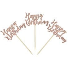 Décoration de gâteaux or Rose pailleté 24 pièces/paquet   Décoration pour joyeux anniversaire, décoration pour gâteau drapeaux haut de gâteau