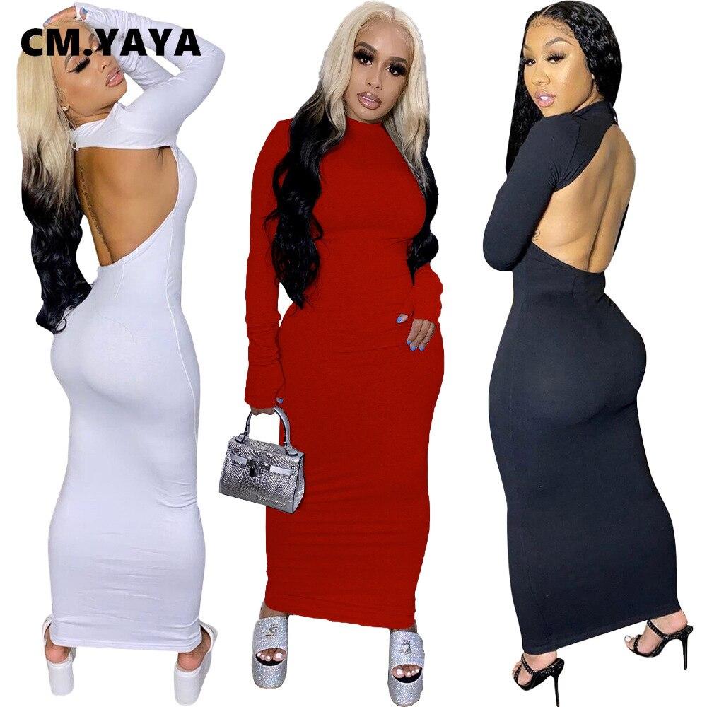 Cm. yaya feminino manga longa aberto volta sexy boycon midi maxi vestido clube festa noite longo lápis vestidos